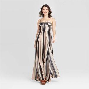 Xhilaration   NWT Pink & Black Striped Jumpsuit